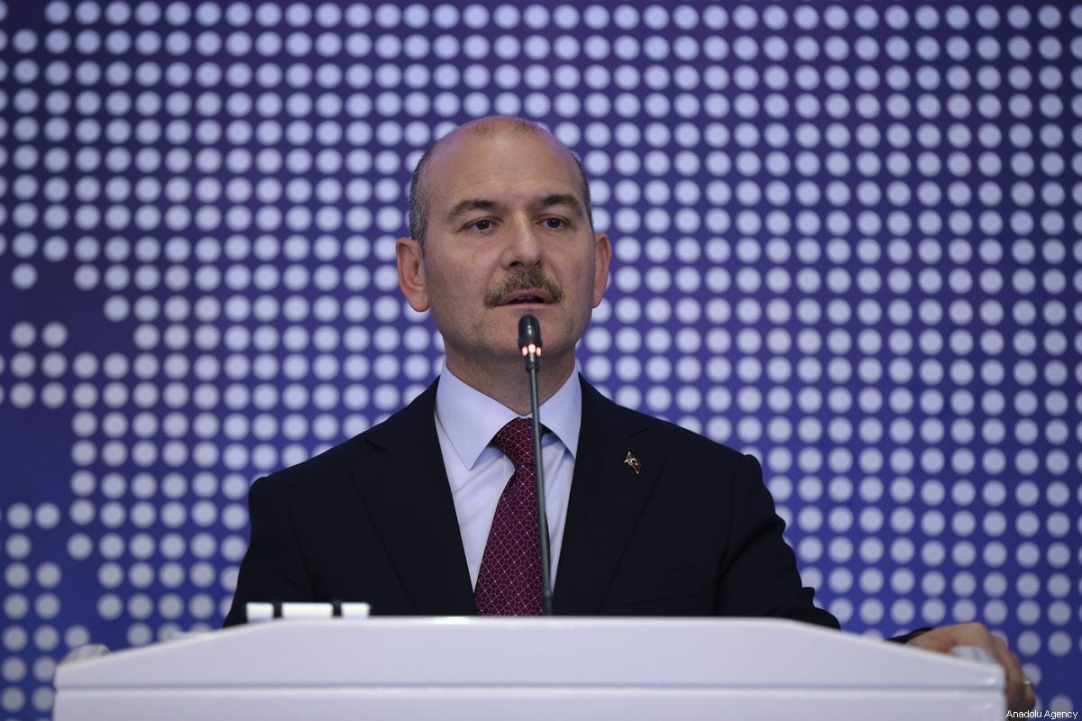Turkish Interior Minister Suleyman Soylu and European Commissioner for Migration, Home Affairs and Citizenship, Dimitris Avramopoulos (not seen) hold a joint press conference on the issue of migration before their meeting in Ankara, Turkey on October 03, 2019 [Güven Yılmaz - Anadolu Agency]