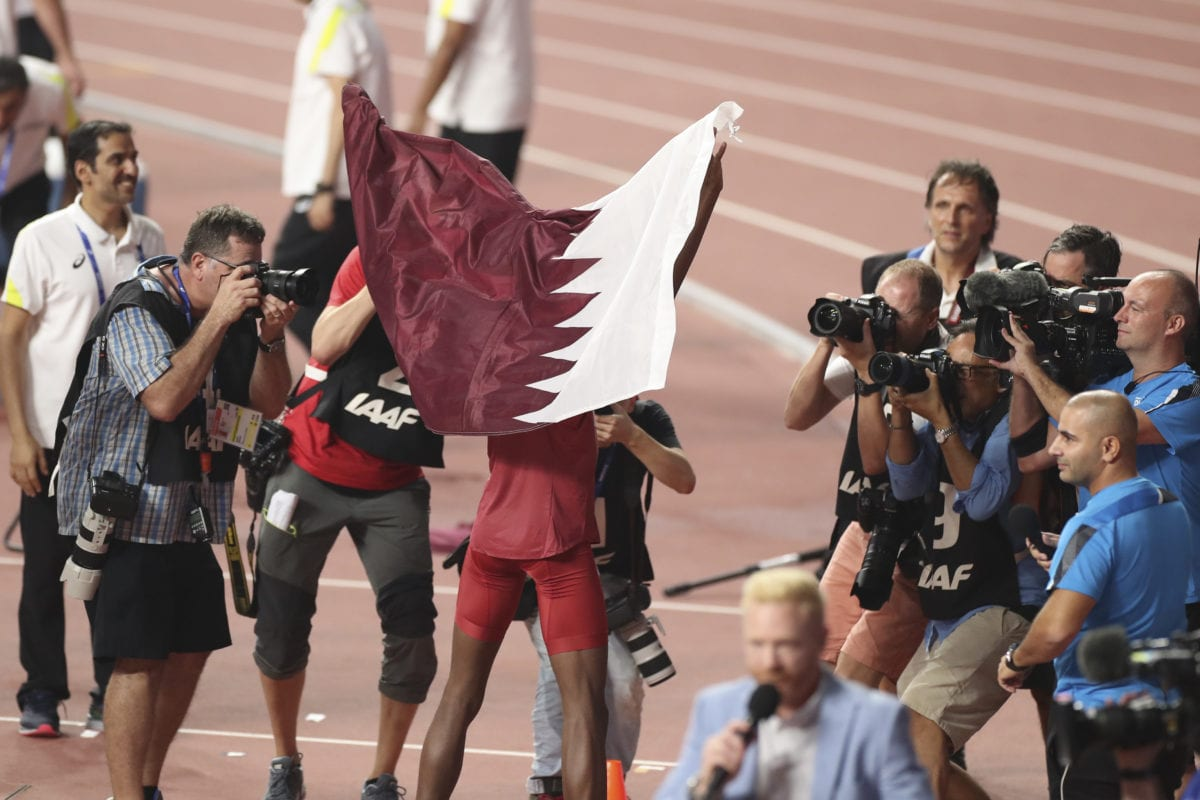 Mutaz Essa Barshim of the Qatar's team reacts after winning the Men's High Jump final race during the 17th IAAF World Athletics Championships Doha 2019 on October 04, 2019 in Doha, Qatar [Serhat Çağdaş / Anadolu Agency]