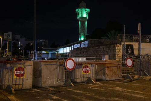 Barriers are seen after Israeli police officers closed the main roads to mark the Jewish Yom Kippur, the Day of Atonement and the holiest of Jewish holidays, in Jerusalem on 8 October 2019. [Faiz Abu Rmeleh - Anadolu Agency]