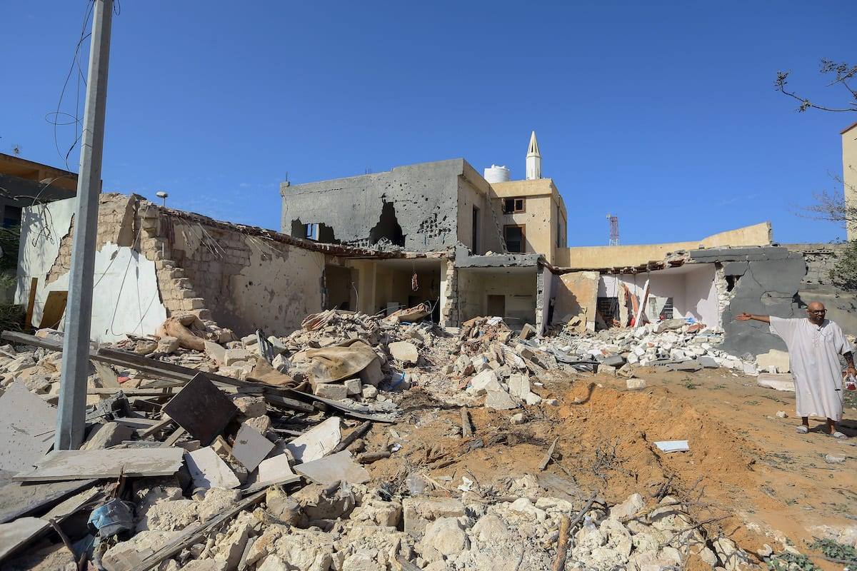 A view of a house hit by airstrike of the Haftar's forces in Tripoli, Libya on 14 October 2019. [Hazem Turkia - Anadolu Agency]