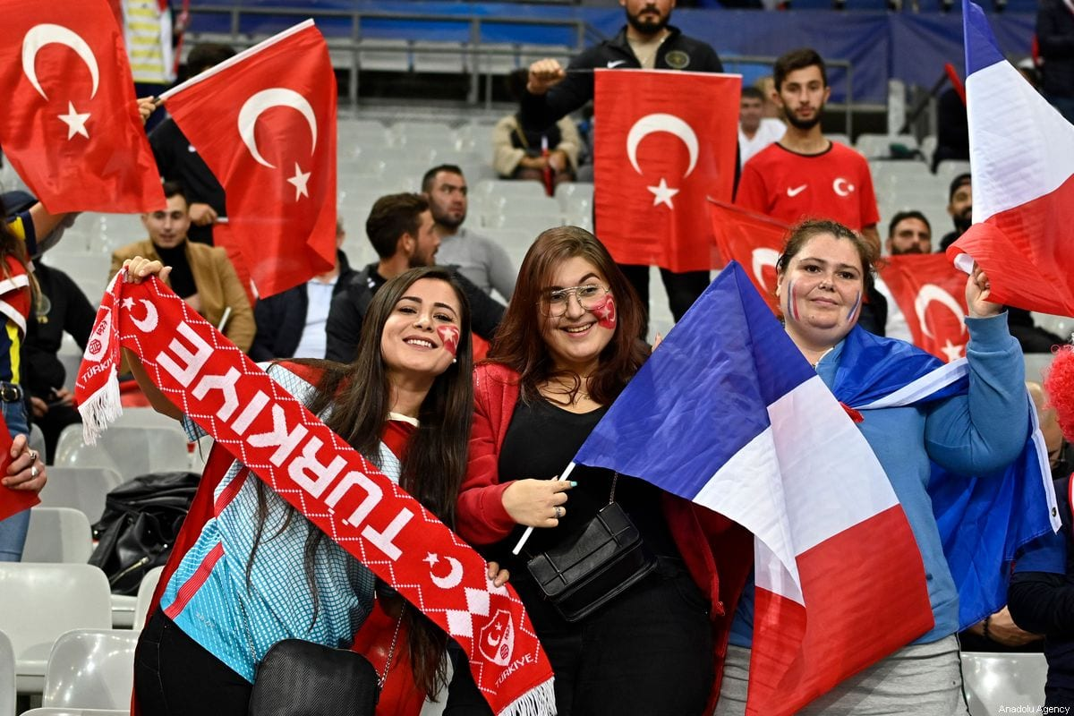 Supporters of Turkey arrive Stade de France ahead of the UEFA EURO 2020 qualifier Group H soccer match between France and Turkey in Saint - Denis, France on October 13, 2019 [Mustafa Yalçın / Anadolu Agency]