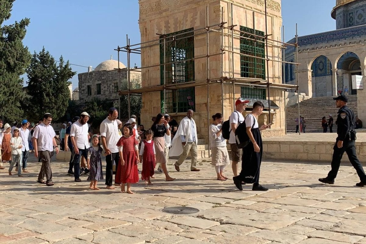 Israeli settlers seen in the the Al-Aqsa Mosque Compound, during the Jewish holiday of Sukkot, on 17 October 2019 [Kudüs İslami Vakıflar İdaresi/Handout/Anadolu Agency]