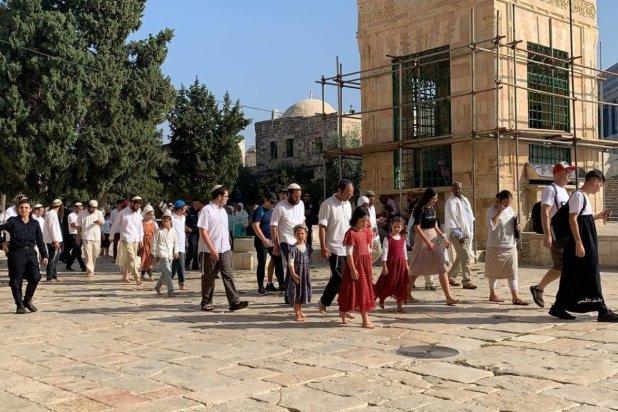 Hundreds of Israeli settlers stormed the Al-Aqsa Mosque in Jerusalem on Thursday for the Jewish holiday of Sukkot [Kudüs İslami Vakıflar İdaresi/Handout/Anadolu Agency]