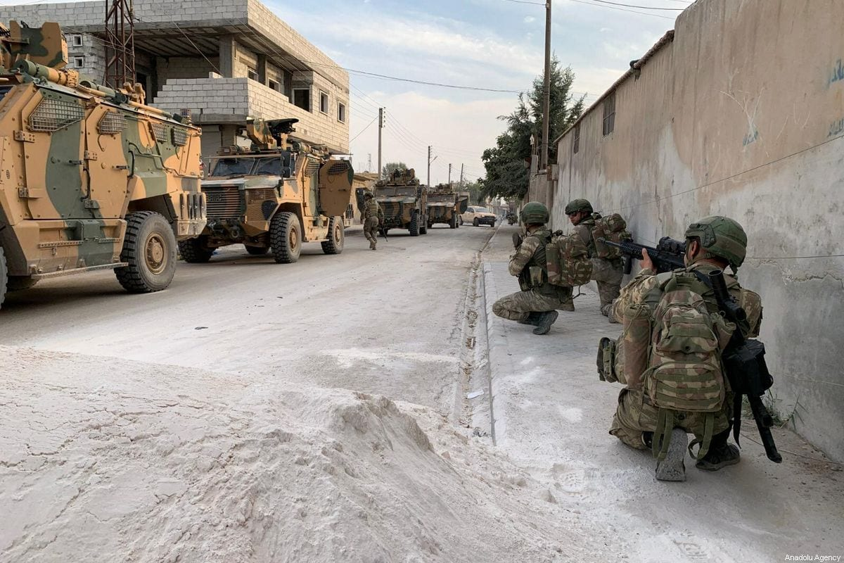 Members of Turkish Armed Forces (TSK) continue operations against the PKK, listed as a terrorist organization by Turkey, the US and the EU, and the Syrian Kurdish YPG militia, which Turkey regards as a terror group, within Turkey's Operation Peace Spring in Ras Al Ayn, Syria on 17 October 2019. [TURKISH ARMED FORCES / HANDOUT - Anadolu Agency]