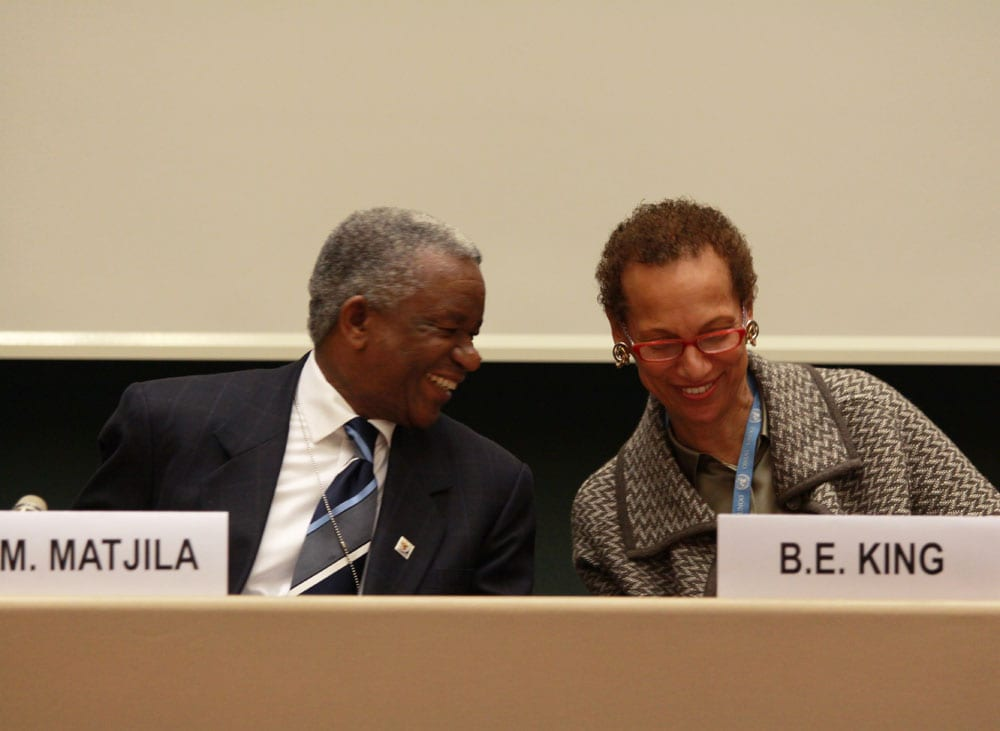 Ambassador Jerry Matthews Matjila and Ambassador Betty E. King on 22 March 2010[Flickr]