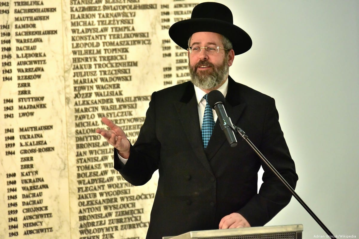 Israel'sAshkenazi ChiefRabbi David Lau