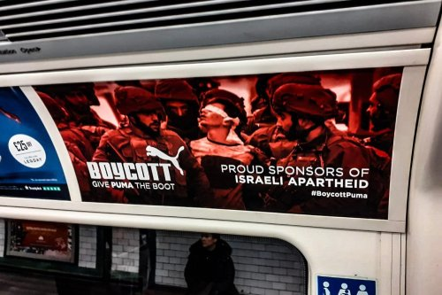 Posters on the London underground urges commuters to boycott sports brand Puma because of its sponsorship of the Israeli Football Association (IFA) which has teams in illegal settlements