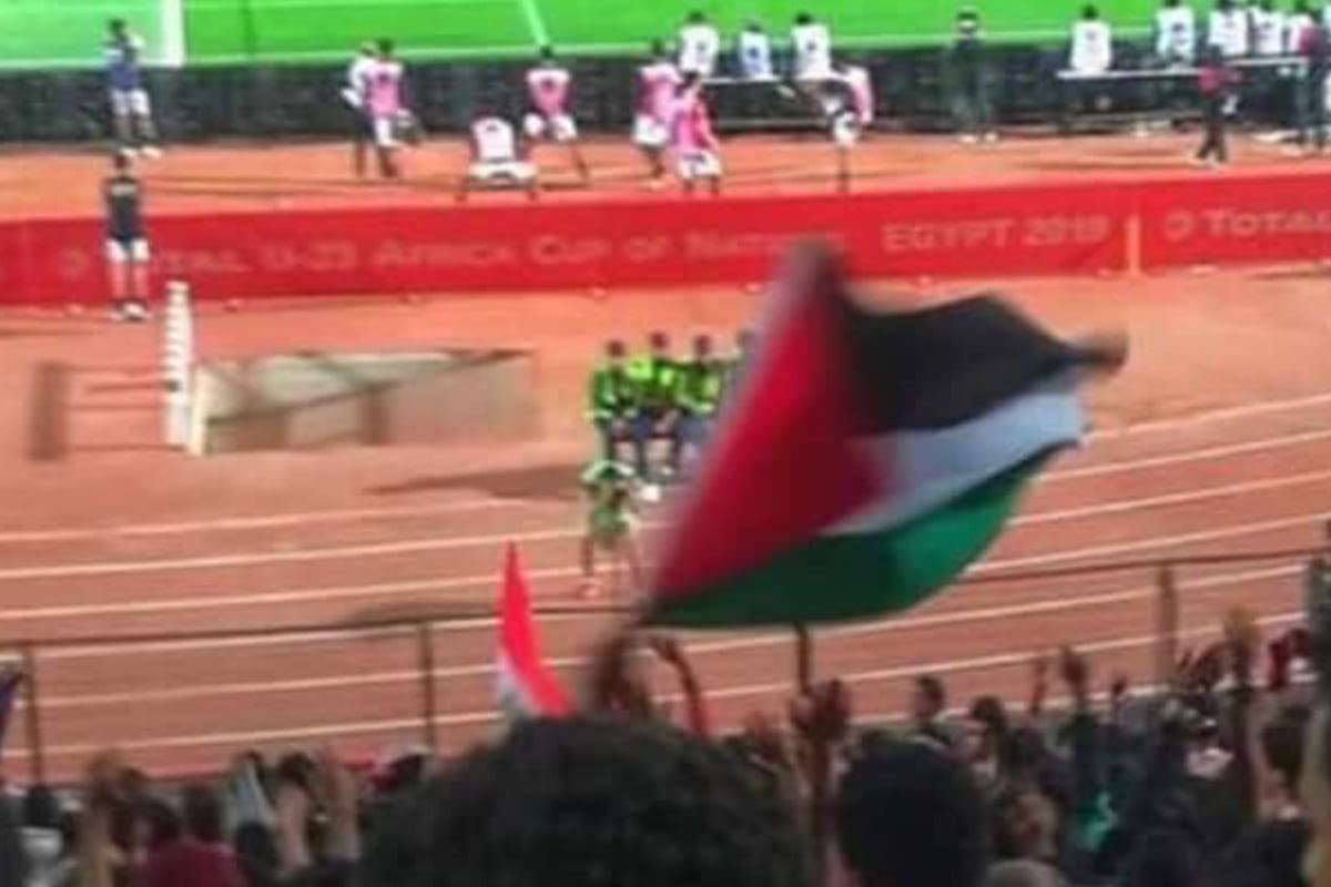 A football fan can be seen waving the Palestinian flag Cairo International Stadium on 19 November 2019 [Twitter]