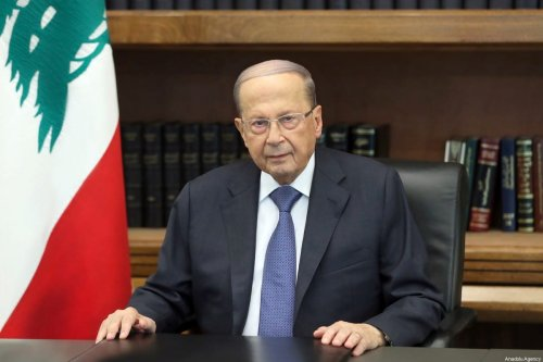Lebanese President Michel Aoun in Beirut, Lebanon on 24 October 2019 [Presidency of Lebanon/Anadolu Agency]