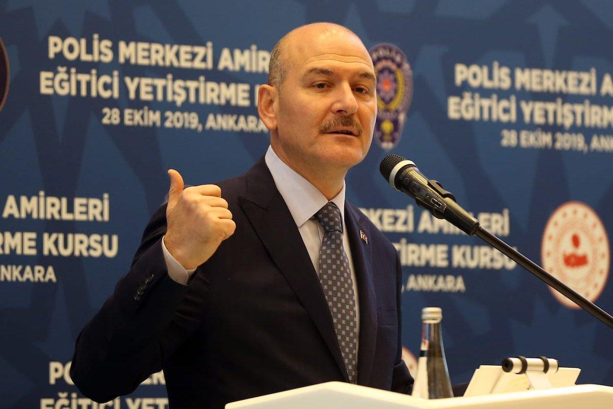 Turkish Interior Minister Suleyman Soylu speaks during an opening ceremony in Ankara, Turkey on 28 October 2019. [Evrim Aydın - Anadolu Agency]