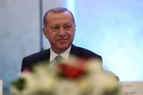 Turkish President Recep Tayyip Erdogan attends the 6th Turkish Medical World Congress in Istanbul, Turkey on 31 October, 2019 [Arif Hüdaverdi Yaman/Anadolu Agency]