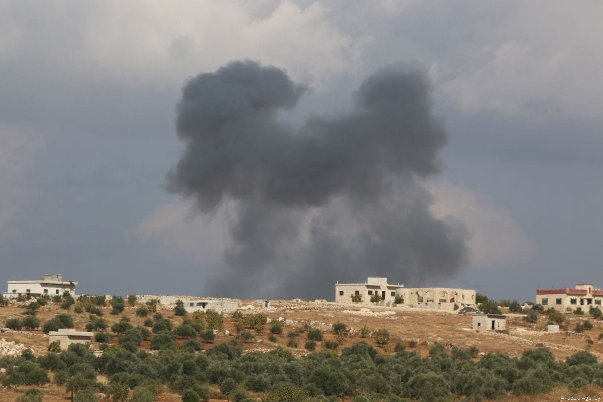Smoke rises after airstrikes hit residential areas and the frontlines of armed Syrian oppositions in Jibala town of Idlib, de-escalation zone, Syria on 2 November 2019. [Muhammed Abdullah - Anadolu Agency]