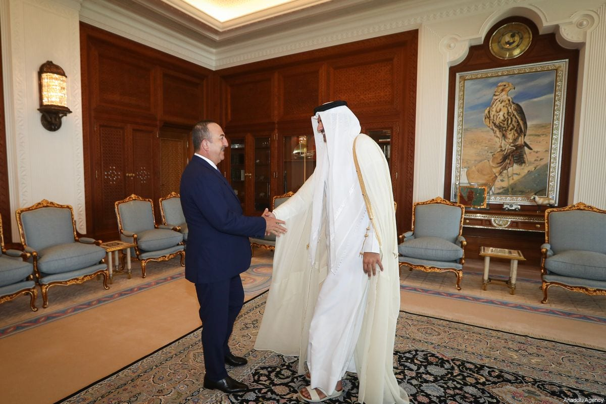Turkish Foreign Minister Mevlut Cavusoglu (L) meets Emir of Qatar Tamim bin Hamad Al Thani (R) in Doha, Qatar on 3 November 2019 [Cem Özdel/Anadolu Agency]