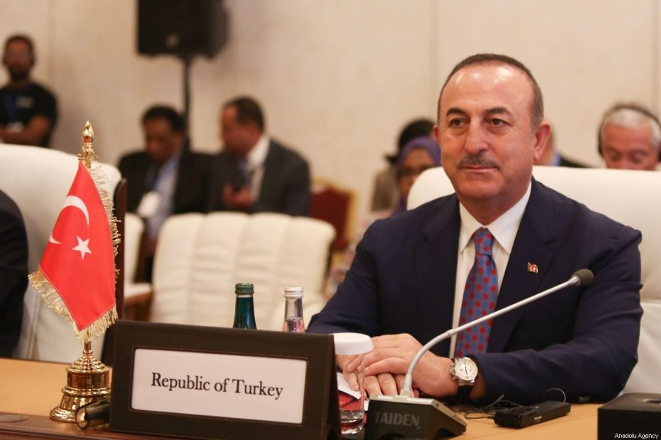 Turkish Foreign Minister Mevlut Cavusoglu in Doha, Qatar on 3 November 2019 [Cem Özdel/Anadolu Agency]