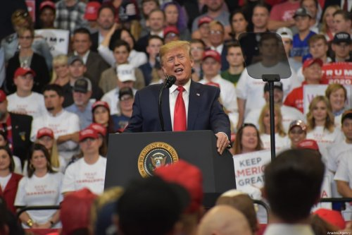 US President Donald J. Trump delivers remarks at a 'Keep America Great' rally in Lexington, Kentucky, United States on 4 November 2019. [Kyle Mazza - Anadolu Agency]