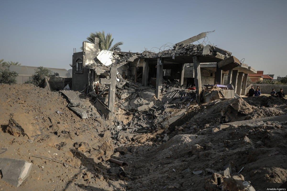 A destroyed home seen after Israeli airstrikes hit Abu Hadayids' home in Rafah, Gaza on November 13, 2019 [Ali Jadallah / Anadolu Agency]