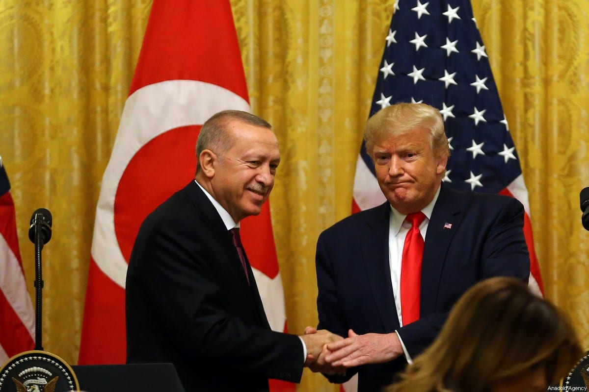 President of Turkey, Recep Tayyip Erdogan and US President Donald Trump hold a joint press conference following their meeting at the White House in Washington, United States on 13 November 2019. [Halil Sağırkaya - Anadolu Agency]