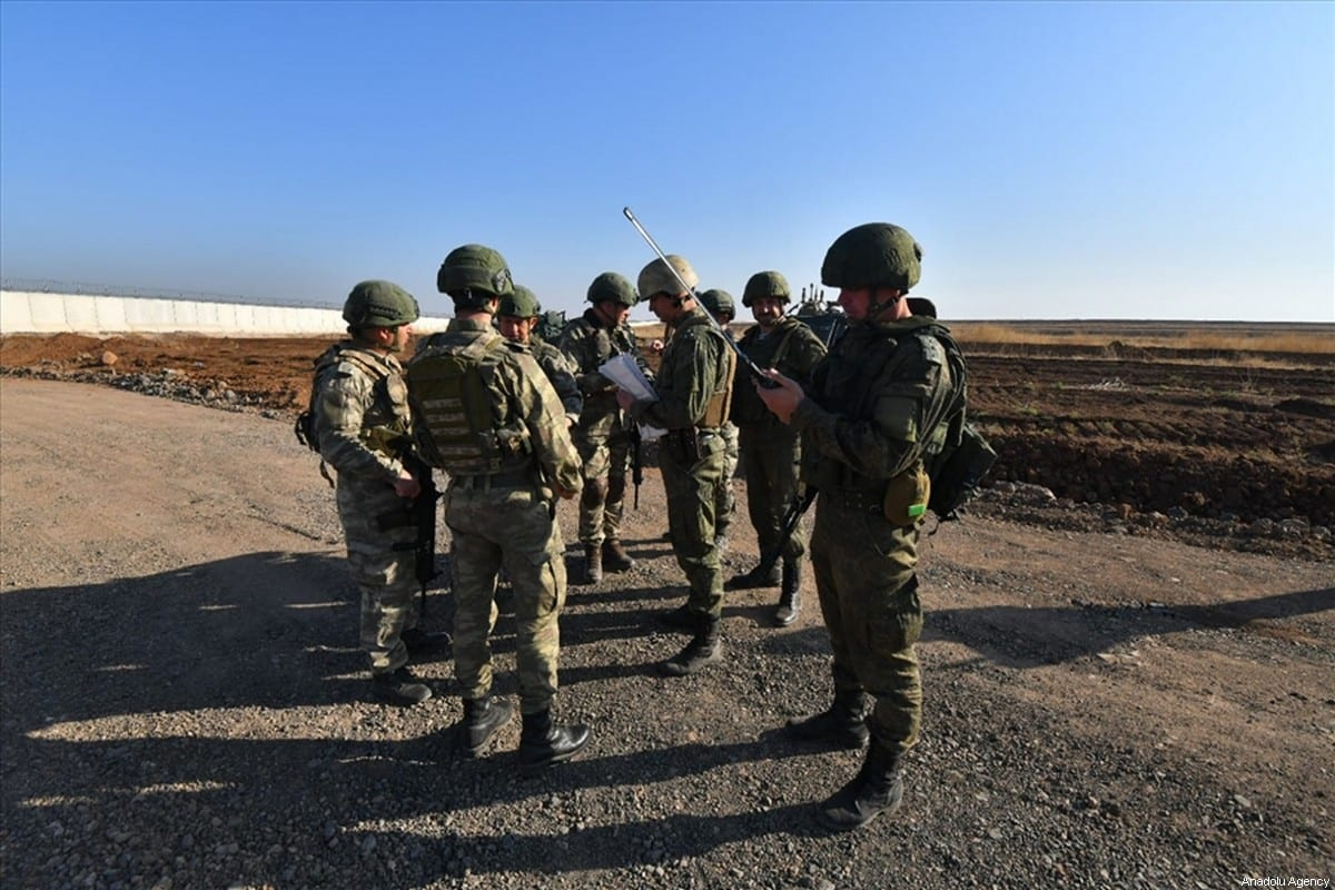 Turkish and Russian troops conduct patrols in Syria on 16 November 2019 [TURKEY'S NATIONAL DEFENCE MINISTRY/Anadolu Agency]