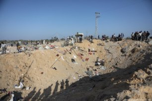 A Palestinian house was destroyed, killing 8 members of same family, after Israel carried out air strikes in Gaza on 14 November 2019 [Mohammed Asad/Middle East Monitor]