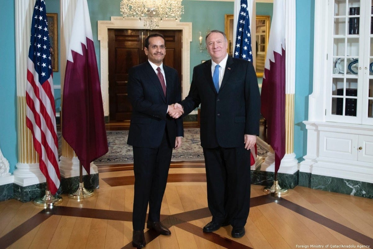 US Secretary of State Mike Pompeo meets Qatar's Minister of Foreign Affairs Mohammed Bin Abdulrahman Al Thani on 12 November 2019 in Washington, US [Foreign Ministry of Qatar/Anadolu Agency]
