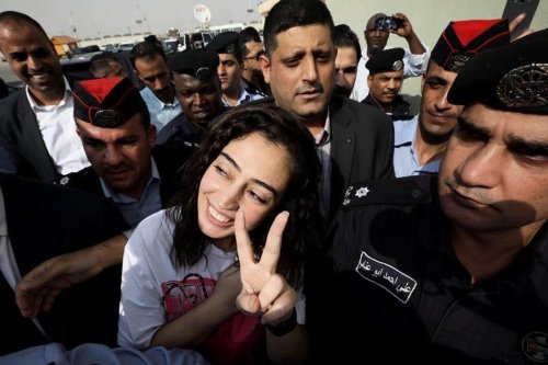 Heba Al-Labadi (C) was released from an Israeli prison on 6 November 2019