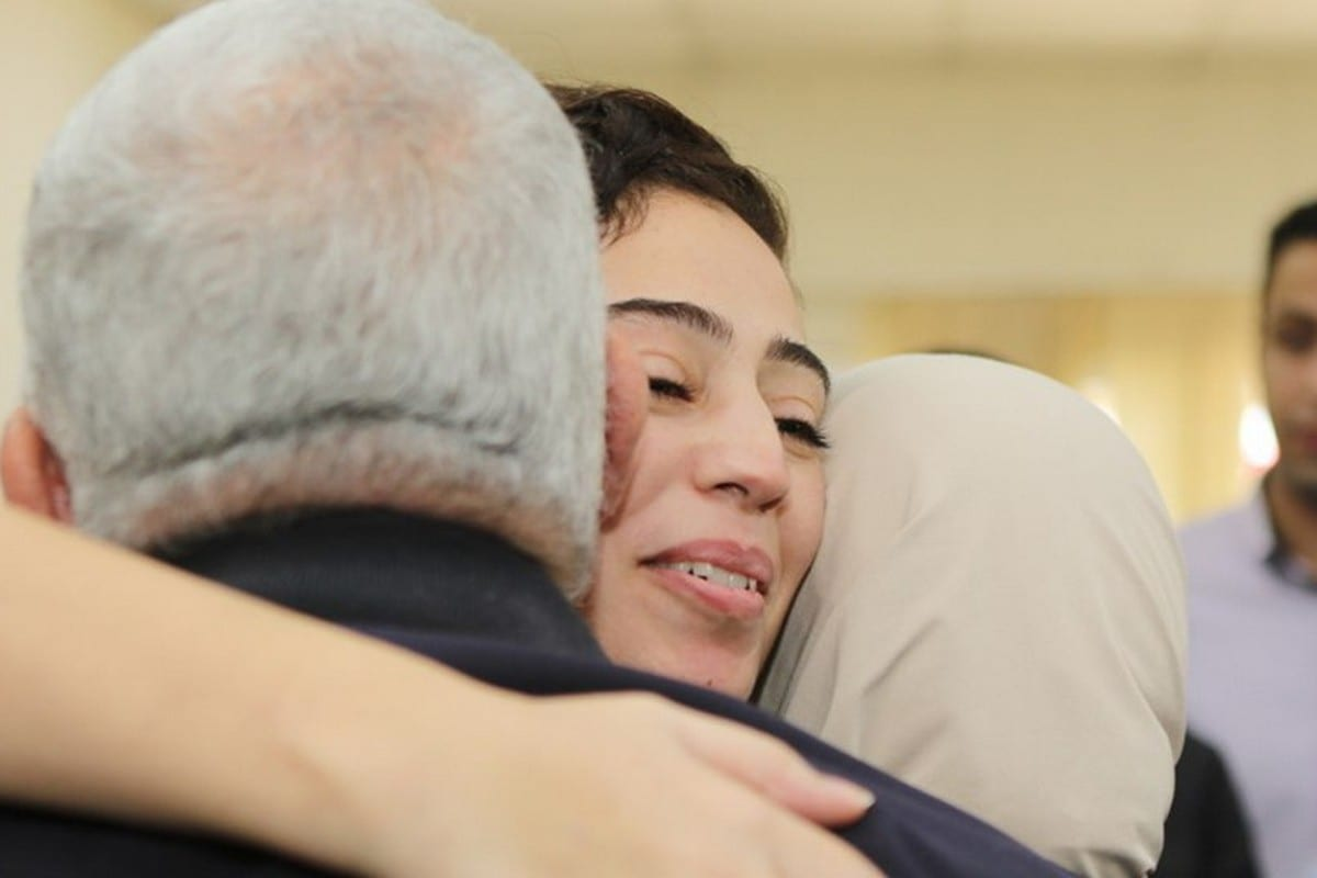 Heba Al-Labadi (C) was released from prison by Israel on 6 November 2019