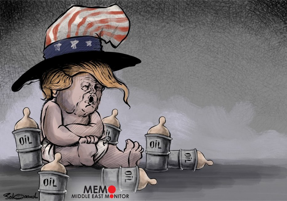 Is the US exploiting Syrian oil fields? - Cartoon [Sabaaneh/MiddleEastMonitor]