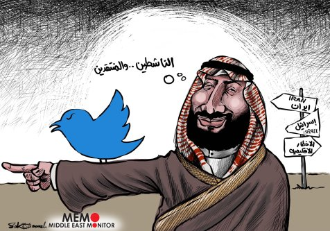 Twitter accounts of critics of the Saudi family have been hacked - Cartoon [Sabaaneh/MiddleEastMonitor]