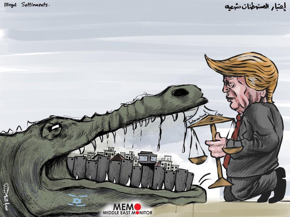 Тръмп не се интересува от международното право и прави незаконните споразумения законни - Cartoon [Sabaaneh / MiddleEastMonitor]