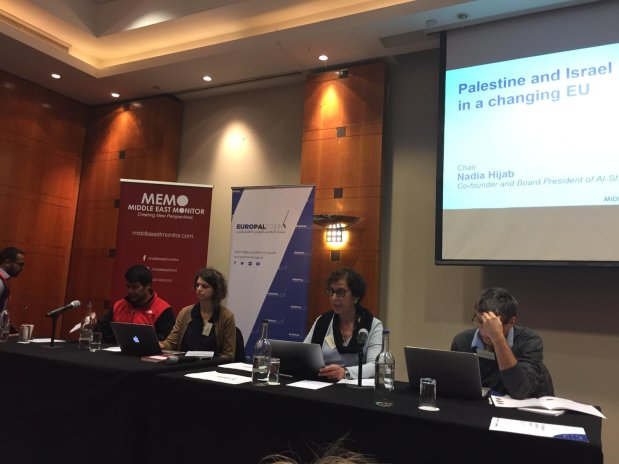 The second panel chaired by Nadia Hijab (second right) at MEMO and EuroPal Forum conference The Palestine Question in Europe on 23 November 2019