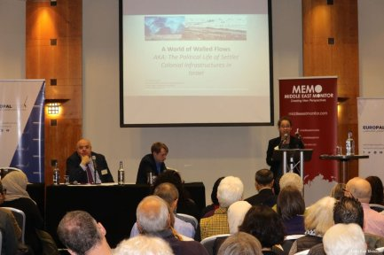 Dr Sharri Plonski at MEMO and EuroPal Forum conference The Palestine Question in Europe on 23 November 2019 [Middle East Monitor]