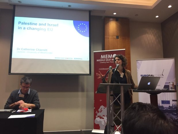 Dr Catherine Charrett at MEMO and EuroPal Forum conference The Palestine Question in Europe on 23 November 2019