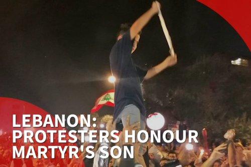 thumbnail - Lebanon: Protesters honour Martyr's son