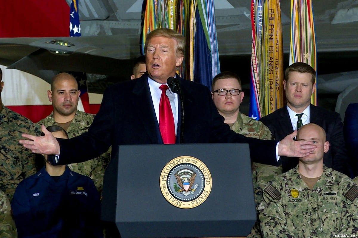 US President Donald Trump in Maryland, US on 20 December 2019 [Yasin Öztürk/Anadolu Agency]