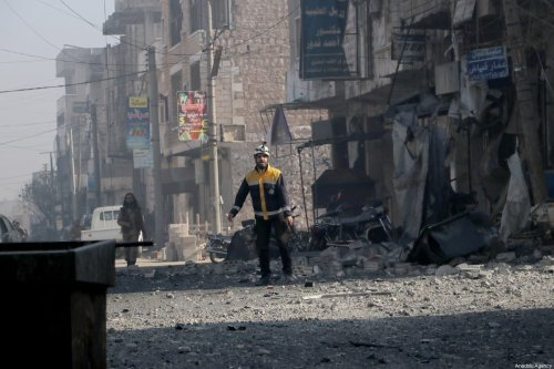 Civil defense crew, also known as the White Helmets, carry out search and rescue works around the debris of buildings after airstrikes carried out by Assad Regime over Saraqib district in the de-escalation zone of Idlib, Syria on December 21, 2019 [Hüseyin Fazıl / Anadolu Agency]