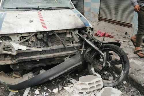 ALEPPO, SYRIA - DECEMBER 25: A damaged car is seen as a result of simultaneous explosions caused with two bomb-laden motorcycles parked at a densely populated residential area in Jarabulus of Aleppo, Syria on December 25, 2019. According to initial reports, 10 civilian wounded due to explosions. ( Mutez Muhammed - Anadolu Agency )