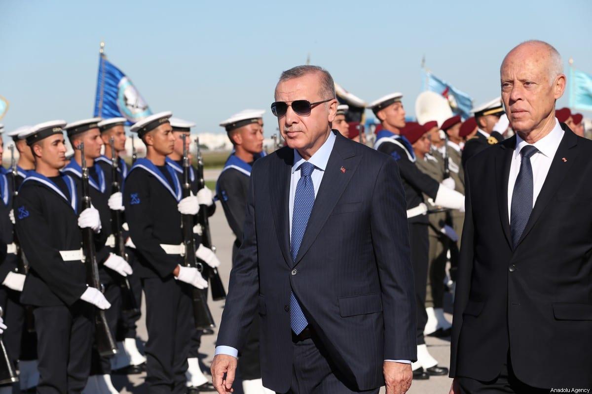 President of Turkey Recep Tayyip Erdogan is welcomed by President of Tunisia Kais Saied in Tunis, Tunisia on December 25, 2019 [Turkish Presidency / Murat Cetinmuhurdar - Anadolu Agency]