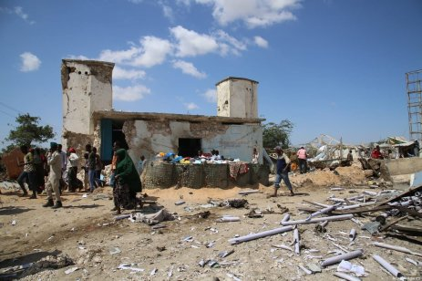 A view of the site after a bomb attack carried out to a checkpoint in Somalia's capital Mogadishu on December 28, 2019 [Sadak Mohamed / Anadolu Agency]