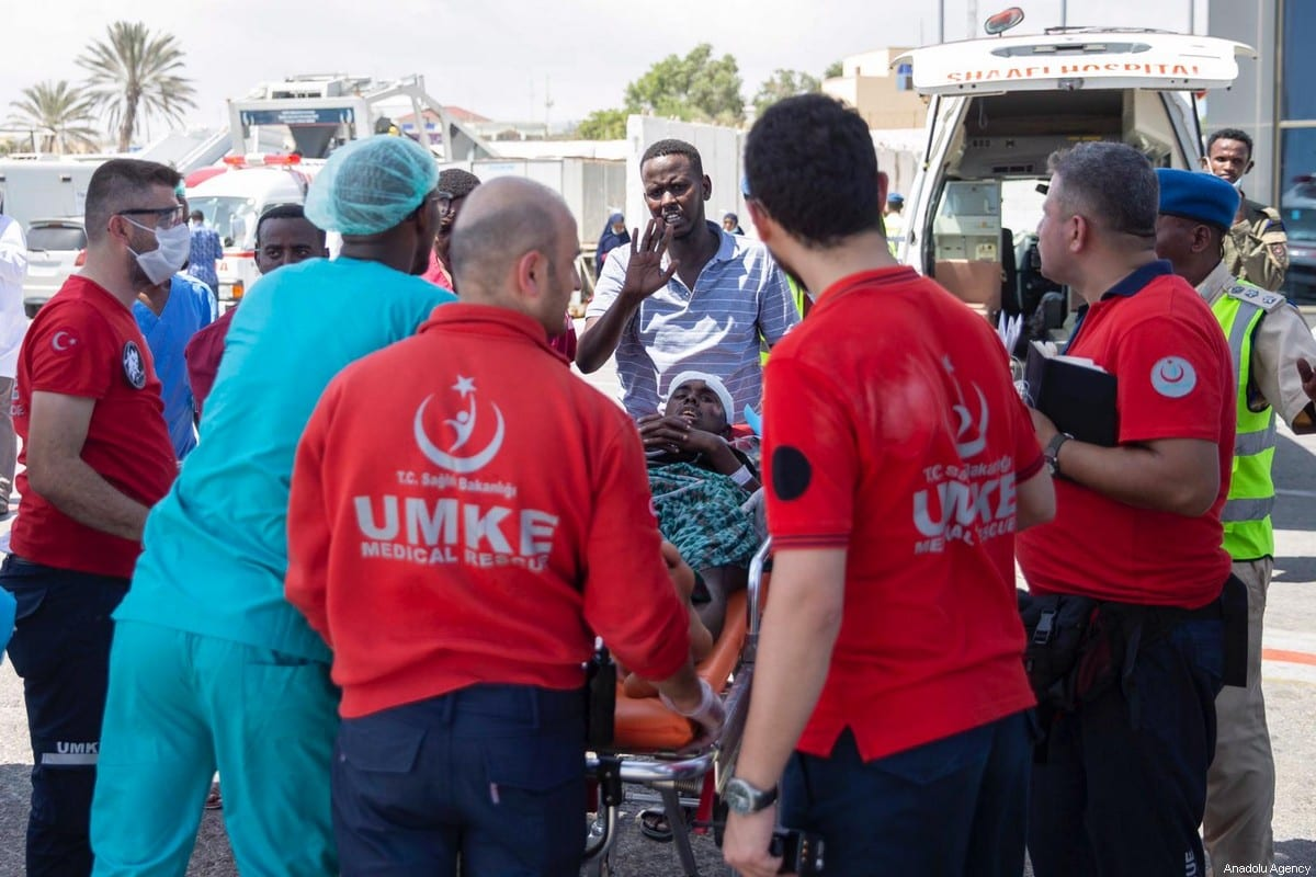 Wounded people are being dispatched to Turkey for medical treatment after a bomb attack carried out to a checkpoint in Somalia's capital Mogadishu on December 29, 2019 [Emin Sansar / Anadolu Agency]