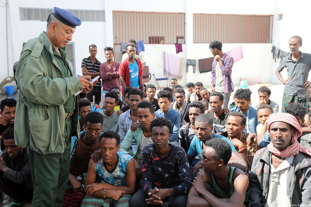 Irregular African migrants are seen at a prison in Taizz, Yemen on 25 December 2019. [Abdulnaser Alseddik - Anadolu Agency]