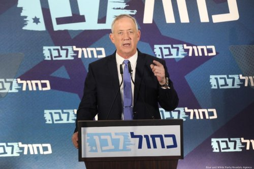 Leader of the Blue and White Party Benny Gantz speaks during a press conference in Tel Aviv on 20 November 2019 [Blue and White Party/Anadolu Agency]