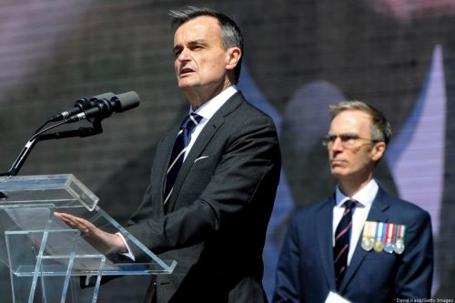 Ambassador Gerard Araud speaks during the centennial of the United States entry into World War I at the National World War I Museum and Memorial in Kansas City, Missouri on April 6, 2017. [DAVE KAUP/AFP via Getty Images]