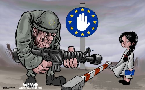 Many European citizens went to fight in Syria/Iraq and had children there, now EU countries are facing a decision over whether to bring them home or not - Cartoon [Sabaaneh/MiddleEastMonitor]