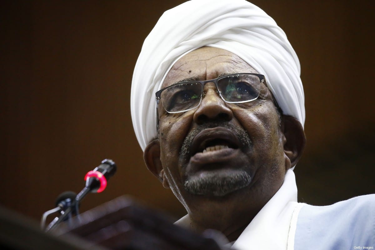 Former Sudanese President Omar al-Bashir addresses parliament in the capital Khartoum on 1 April 2019 [ASHRAF SHAZLY/AFP/Getty Images]