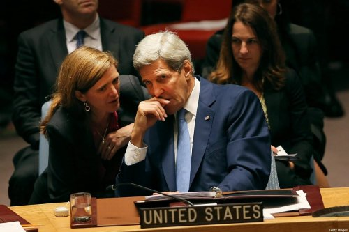 Secretary of State John Kerry speaks with United States Ambassador to the United Nations Samantha Power at a Security Council meeting on counter terrorism at the United Nations on 30 September 2015 in New York City. [Spencer Platt/Getty Images]