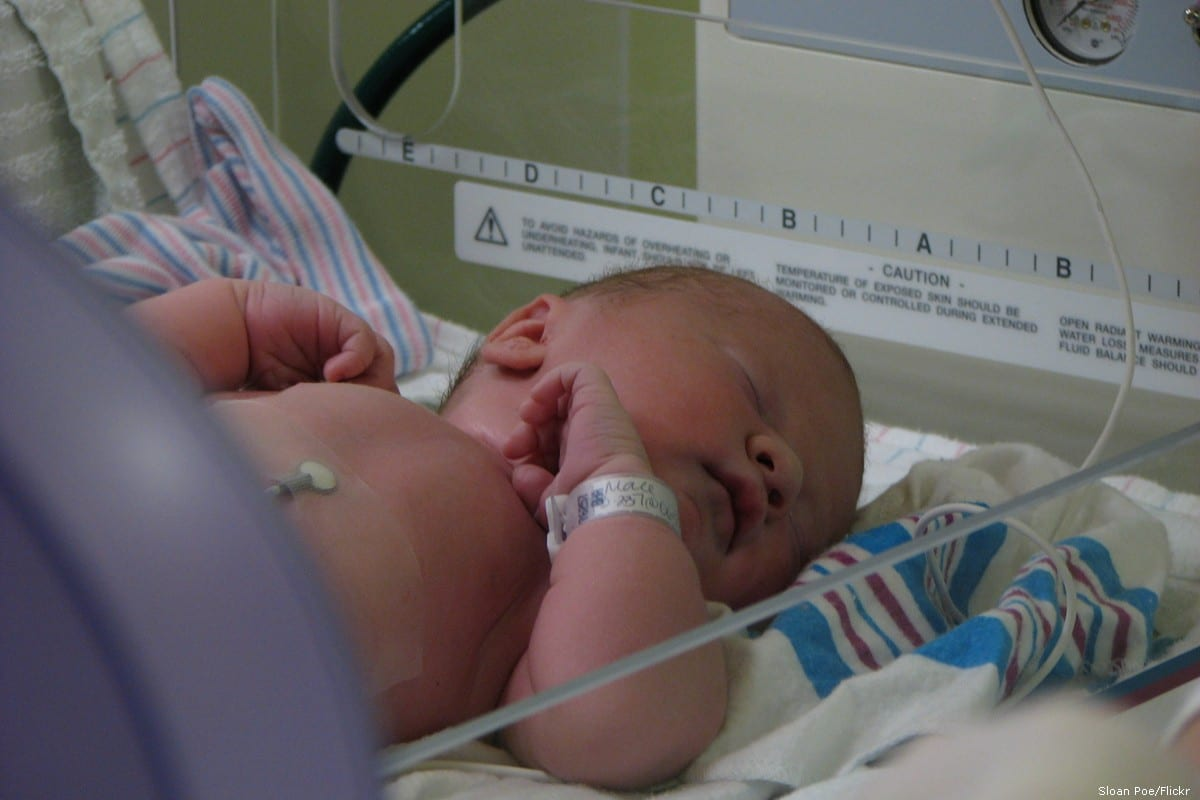 A new born baby in hospital in South Carolina, US [Sloan Poe/Flickr]