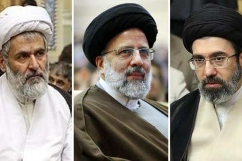 Hossein Taib head of the Revolutionary Guard intelligence (L) Ebrahim Raisi , chief of the judiciary (C) and Supreme Guide's son Mojtaba Khamenei