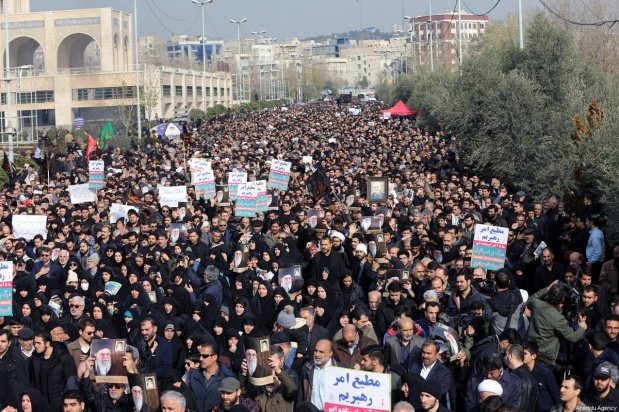 People gather to stage a protest against the killing of Iranian Revolutionary Guards' Quds Force commander Qasem Soleimani by a US air strike in the Iraqi capital Baghdad, after Friday prayer in Tehran, Iran on January 3, 2020 [Fatemeh Bahrami / Anadolu Agency]