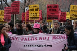 Anti-war activists hold banners during a protest organised by 'CodePink' in front of the White House following the killing of Iranian Revolutionary Guards' Quds Force commander Qasem Soleimani by a US airstrike in the Iraqi capital Baghdad, on January 4, 2020 in Washington, United States [Yasin Öztürk / Anadolu Agency]