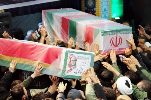 Thousands of people attend the funeral ceremony of Qasem Soleimani, commander of Iranian Revolutionary Guards' Quds Forces, who was killed in a U.S. drone airstrike in Iraq, in Tehran, Iran on 6 January 2019. [IRANIAN PRESIDENCY / HANDOUT - Anadolu Agency]